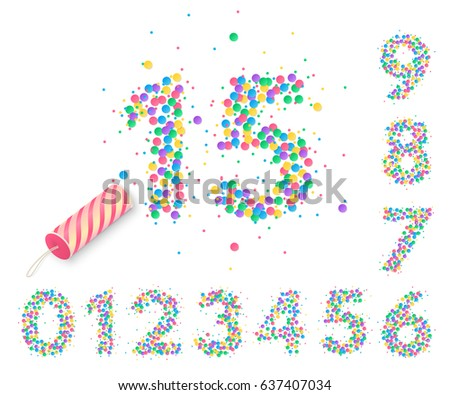 Colorful confetti in the form of numbers with a party popper for design of anniversary posters and greeting card. Holiday decorations for banners and flyers. Isolated from the background.
