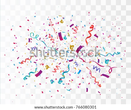 Colorful confetti isolated on transparent background. Festive vector illustration