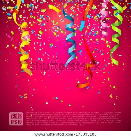 Colorful confetti on red background