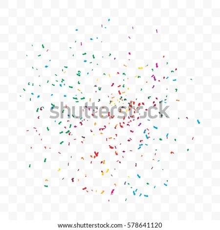 Colorful Confetti On Transparent Background. Vector