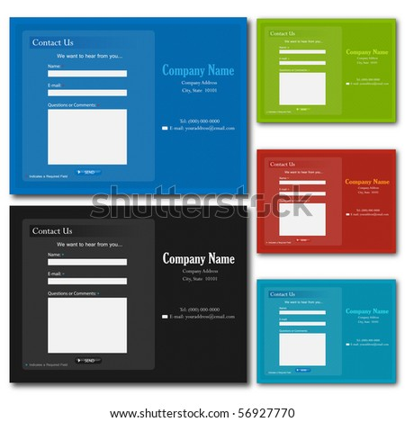 Colorful contact web forms.