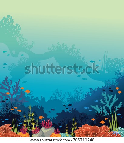 colorful coral reef with