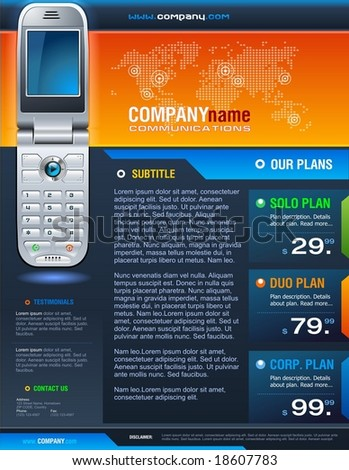 Colorful corporate brochure for telecom industry.