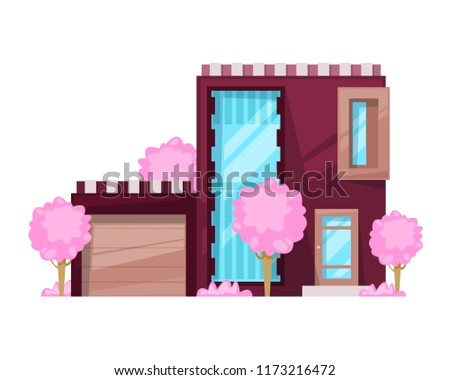 Colorful country house, family cottage, mansion recreation. Real estate in countryside. Facade of residential building. Two-storey family house with garage, high windows, plants. Vector illustration.