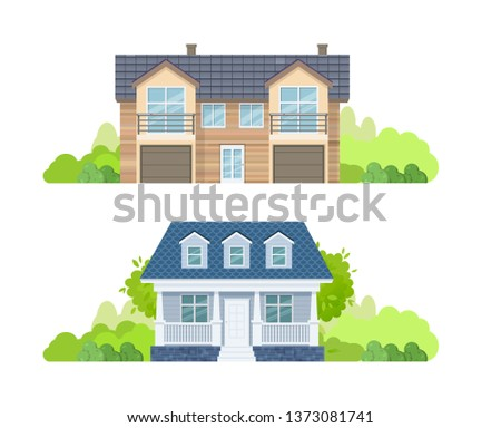 Colorful country houses with tile, roof, holiday mansions, cottages, hotels, guest house. Facades of real estate, house brick, buildings with roof house, landscape and vegetation. Vector illustration.