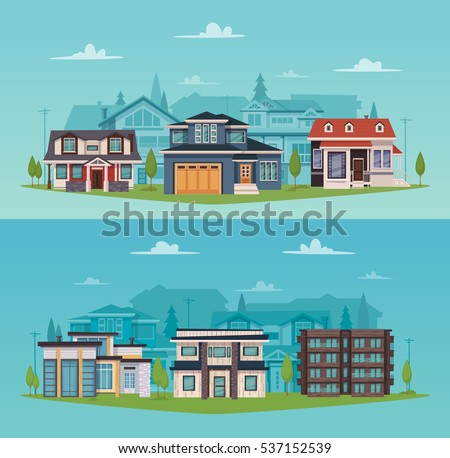 Colorful countryside horizontal banners with suburban houses and cottages in flat style vector illustration
