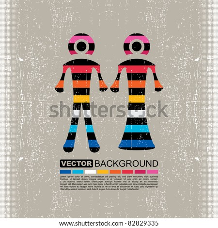 Colorful Couple of men and women on grunge background- vector