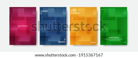 Colorful cover design with rectangle. Minimalist colorful cover design. Pink, blue, orange, green cover design. Elegant cover design with many colors