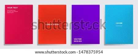 Colorful cover templates set. Radial semicircle geometric lines patterns. Gradient backgrounds for notepads, notice paper covers. Line shapes patterns, header elements. Cover page templates.