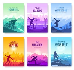 colorfulcovers with various sports rest day vector brochure cards set. Extreme on nature template of flyear, magazines, poster, books, banners. Active lifestyle invitation concept. Layout modern page
