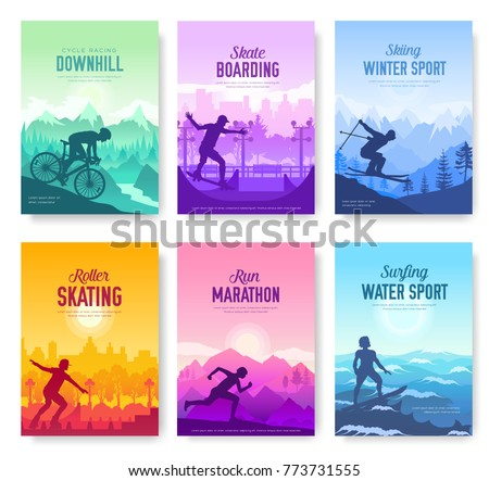 colorful covers with various sports rest day vector brochure cards set. Extreme on nature template of flyear, magazines, poster, books, banners. Active lifestyle invitation concept. Layout modern page - Shutterstock ID 773731555