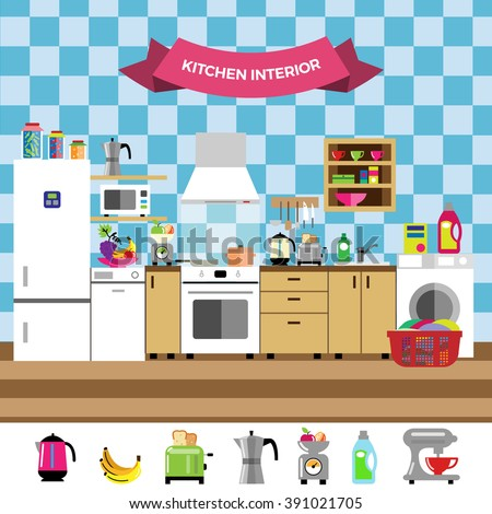 colorful cozy kitchen interior