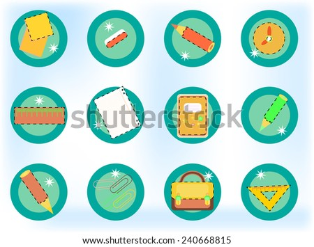 Colorful crayons, rulers, papers on bright background