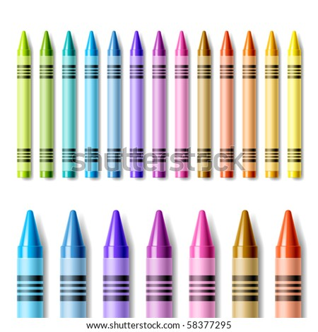 Colorful crayons. Vector.
