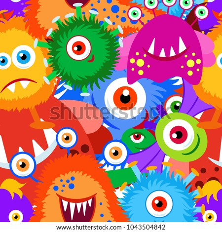 Colorful crazy cartoon monster seamless pattern. Background, fabric, wrapper, backdrop.Vector file not cropped -  clipping mask used for easy editing