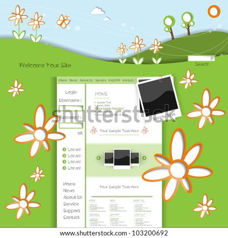 Colorful creative modern abstract cartoon vector website template with spring flower pattern