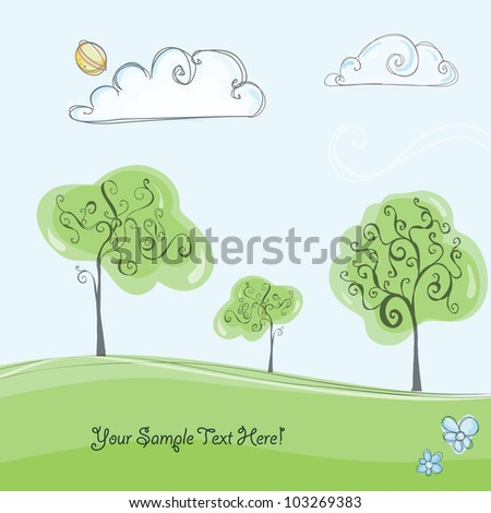 Colorful creative modern abstract nature editable hand drawing vector background with spring flowers and tree pattern textures - stock vector