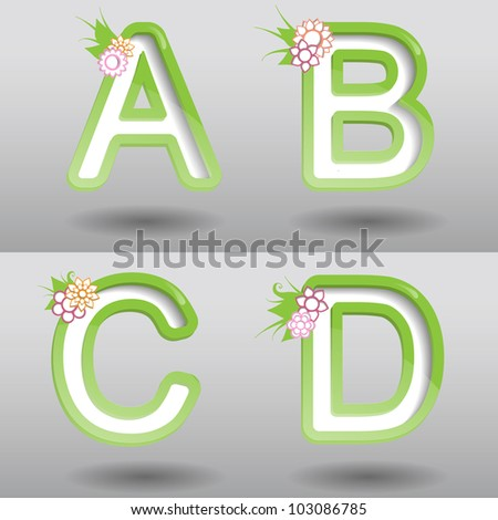 Colorful creative modern nature abstract vector 3d abc  type