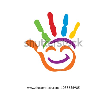 Colorful Creative Palm Children Education Logo in Isolated Background