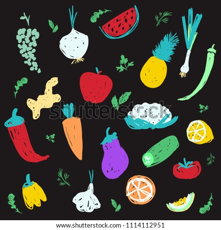 Colorful creative vegetable and fruit icon set #1114112951