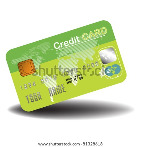 Colorful credit card colored in green, world map and security symbols. Banking concept