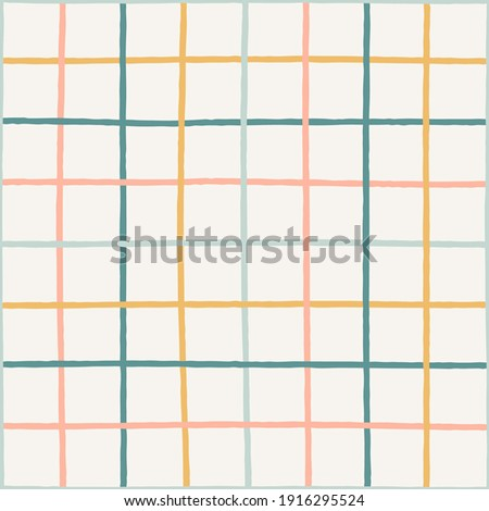 Colorful crossed lines grid pastel seamless vector pattern. Hand-drawn squared pattern. Gender neutral pastel plaid design. Yellow, blue, pink, green, teal stripes on an off-white background.