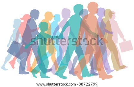 Colorful crowd of people group silhouettes walk forward together