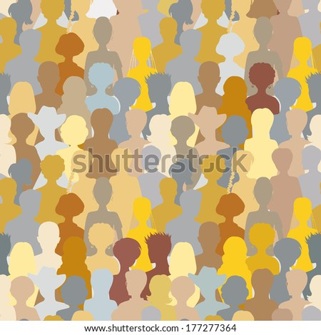 Colorful crowd, seamless background