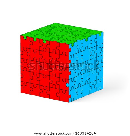 Colorful cube made of puzzle elements. Illustration on white background.