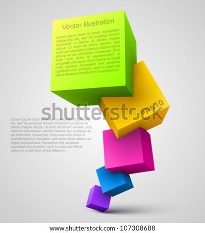 Colorful cubes 3D.