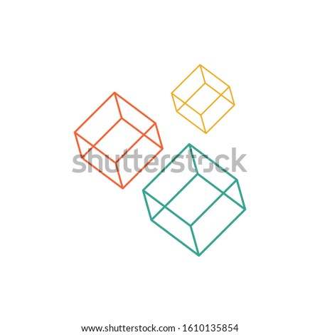 Colorful cubes. Linear cubes. Stock vector illustration isolated on white background.