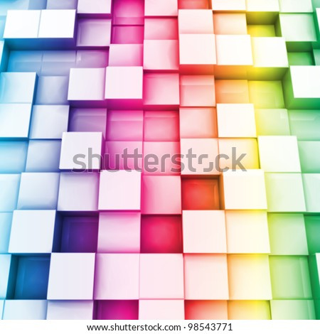 Colorful cubes. Vector background