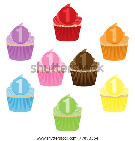 Colorful cupcake collection with a number 1 on them for 1st Birthday.