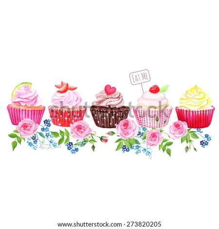 stock-vector-colorful-cupcakes-with-flowers-vector-design-stripe-all-elements-are-isolated-and-editable
