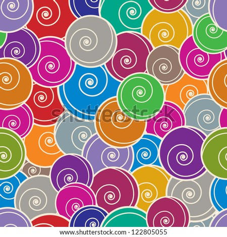 Colorful curls seamless pattern, vector background.