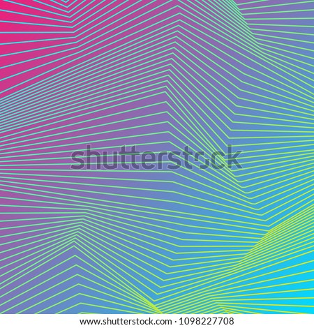 Colorful curved lines refraction pattern design. Abstract futuristic vector background