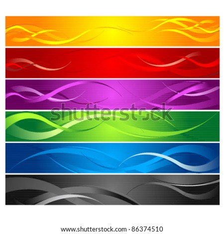 Colorful Curvy Striped Line Banners
