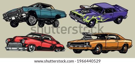 colorful custom cars vintage