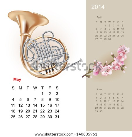 Colorful cute calendar for 2014 with musical design elements