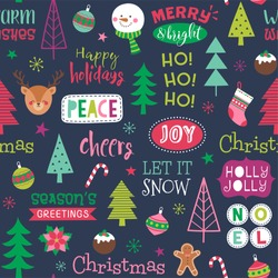 Colorful cute christmas elements seamless pattern background