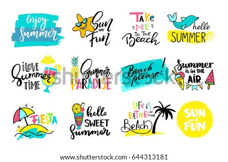colorful cute hand drawn summer