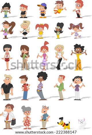 Colorful cute happy cartoon people with pets