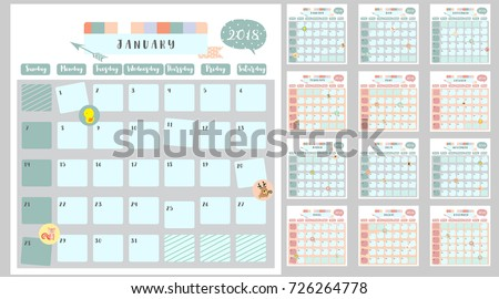colorful cute monthly calendar