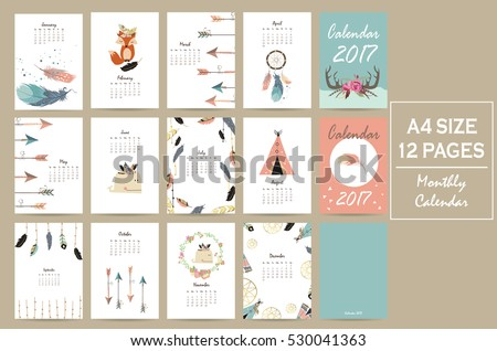 Colorful cute monthly calendar 2017 with tent,whale,feather,arrow,fox and wild.Can be used for web,banner,poster,label and printable
