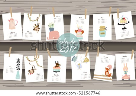 Colorful cute monthly calendar 2017 with whale,tree,monkey,cake and rabbit.Can be used for web,banner,poster,label and printable
