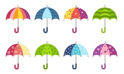 Colorful cute pattern umbrellas collection in flat style