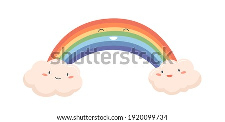 colorful cute rainbow between