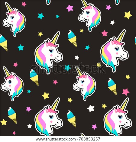 Colorful cute seamless pattern with unicorn, star, ice cream vector. Seamless pattern with unicorns. Vector background with stickers,patches in cartoon 80s-90s comic style.