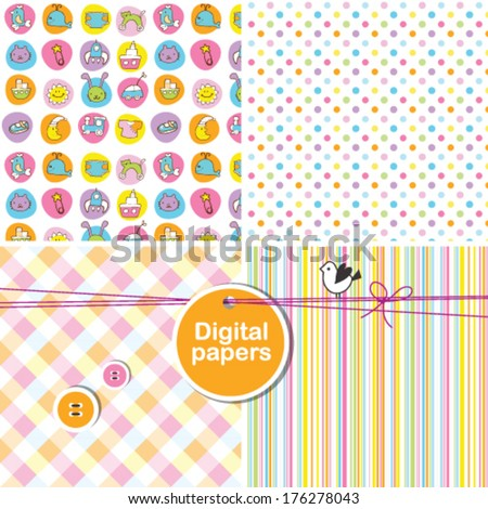 Colorful cute seamless patterns for scrapbook baby shower birthday card invitation Set of textures