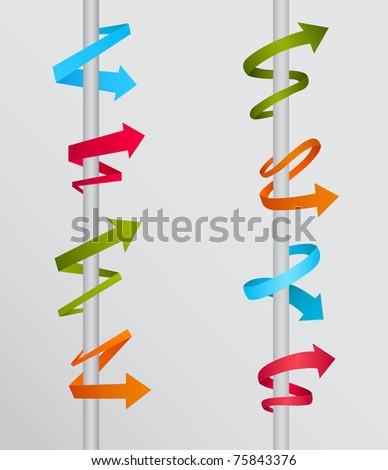 colorful 3d arrow vector set - stock vector